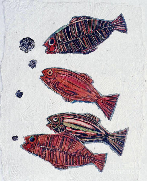 Monotype Mixed Media - 4 Fish by Pamela Iris Harden