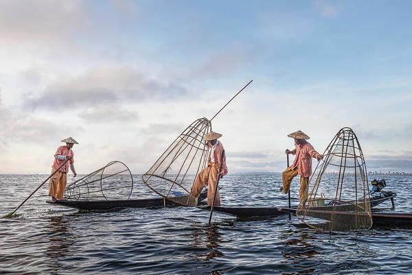 Lake District Wall Art - Photograph - Fisherman Inle Lake - Myanmar by Joana Kruse