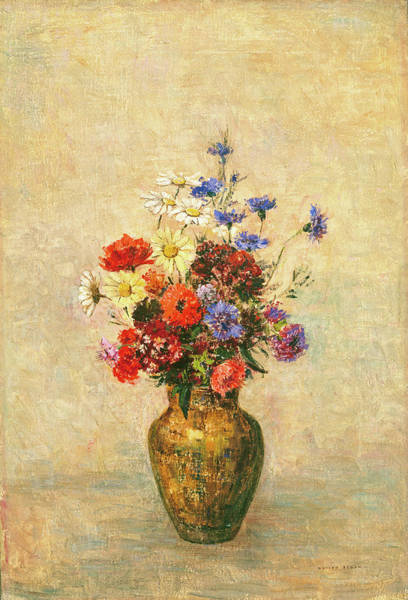 Painting - Flowers In A Vase by Odilon Redon