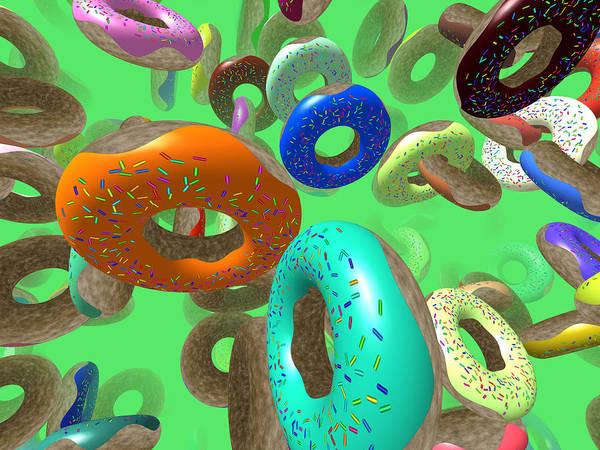 Icing Digital Art - Flying Donuts by Miroslav Nemecek