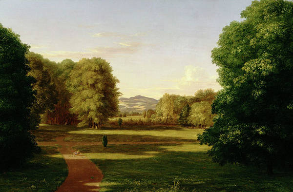 Mountain Range Painting - Gardens Of The Van Rensselaer Manor House by Thomas Cole