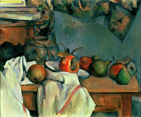 Apple Peel Wall Art - Painting - Ginger Pot With Pomegranate And Pears by Paul Cezanne
