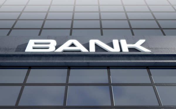 Banking Digital Art - Glass Bank Building Signage by Allan Swart