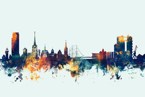 Sweden Wall Art - Digital Art - Halmstad Sweden Skyline by Michael Tompsett