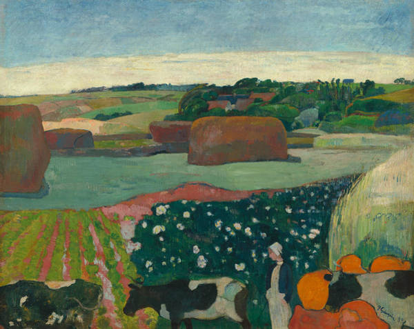 French Painter Wall Art - Painting - Haystacks In Brittany by Paul Gauguin