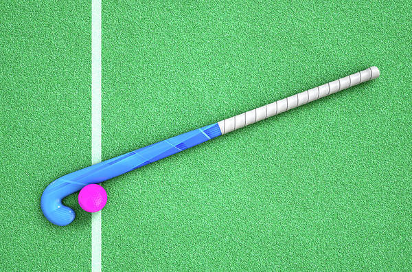 Fitness Digital Art - Hockey Stick And Ball by Allan Swart