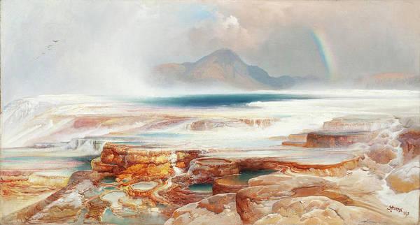 Wall Art - Painting - Hot Springs Of The Yellowstone by Thomas Moran