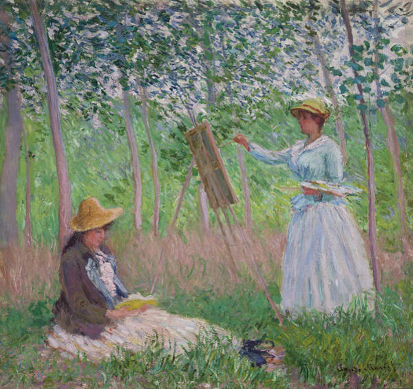 Woman Reading Wall Art - Painting - In The Woods At Giverny by Claude Monet