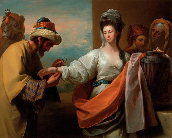 Hebrew Painting - Isaac's Servant Tying The Bracelet On Rebecca's Arm by Benjamin West