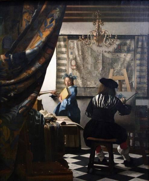 Postmark Painting - De Schilderkunst by Johannes Vermeer