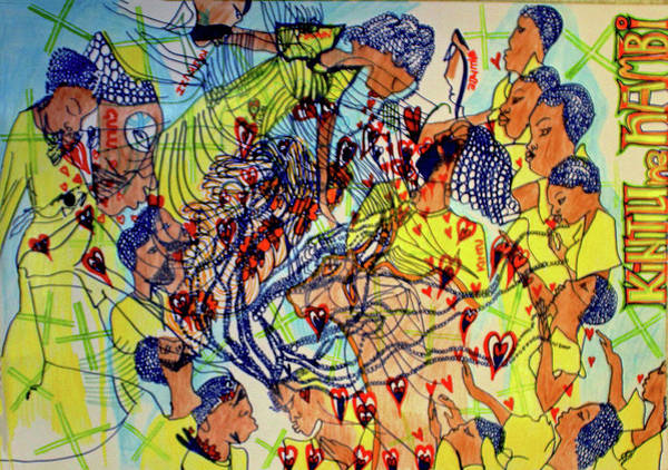 Painting - Kintu And Nambi The Folktale Leaving The Beauty Of Heaven To Go To Earth by Gloria Ssali