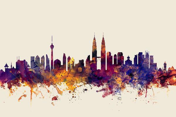 Wall Art - Digital Art - Kuala Lumpur Malaysia Skyline by Michael Tompsett