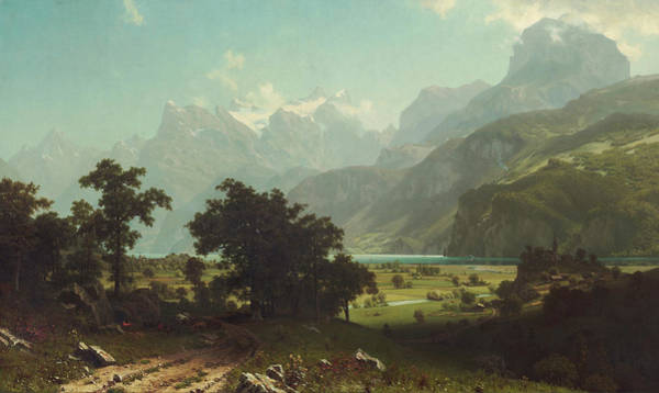 Mountain Lake Painting - Lake Lucerne by Albert Bierstadt
