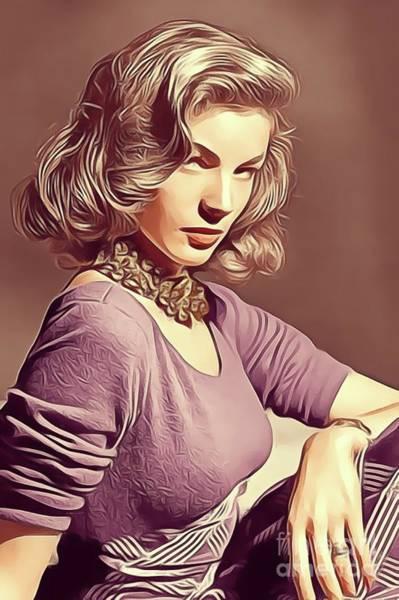 Wall Art - Digital Art - Lauren Bacall, Vintage Actress by John Springfield