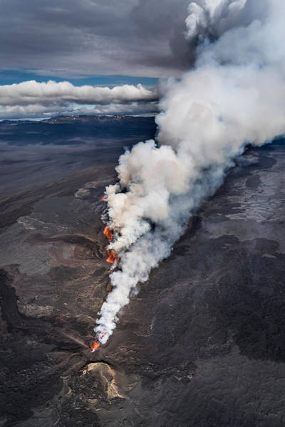 Fissure Photograph - Lava And Plumes From The Holuhraun by Panoramic Images