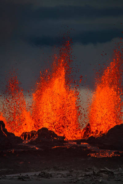 Fissure Photograph - Lava Fountains At The Holuhraun Fissure by Panoramic Images