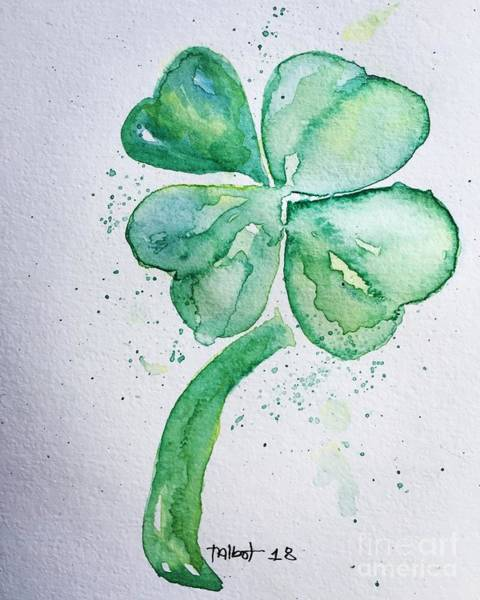 Lucky Clover Painting - 4 Leaf Clover by Jennifer Talbot