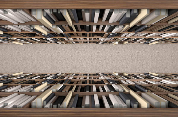 Reference Wall Art - Digital Art - Library Bookshelf Aisle by Allan Swart