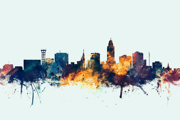 Wall Art - Digital Art - Lincoln Nebraska Skyline by Michael Tompsett
