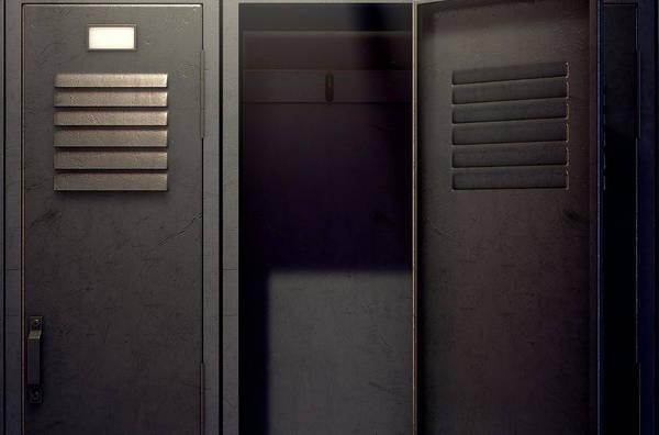 Wall Art - Digital Art - Locker Row And Open Door by Allan Swart