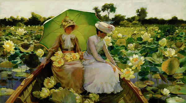 Pink Lotus Wall Art - Painting - Lotus Lilies by Charles Courtney Curran