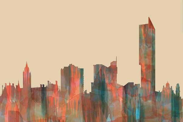 Manchester Skyline Wall Art - Digital Art - Manchester England Skyline by Marlene Watson
