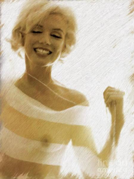 Nipples Wall Art - Painting - Marilyn Monroe, Actress And Model by Mary Bassett