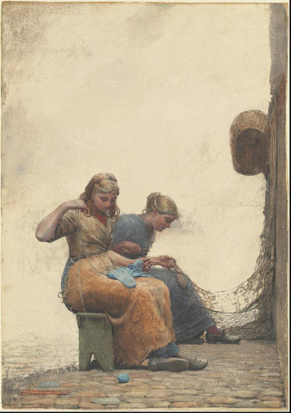 Wall Art - Painting - Mending The Nets  by Winslow Homer