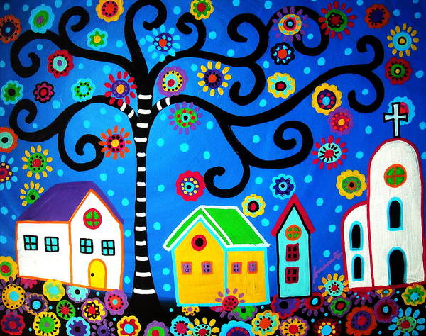 Pristine Wall Art - Painting - Mexican Town by Pristine Cartera Turkus