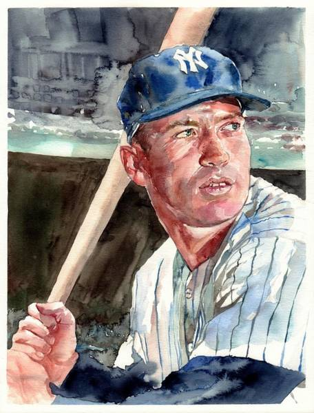 Wall Art - Painting - Mickey Mantle Portrait by Suzann Sines