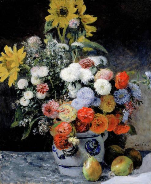 Wall Art - Painting - Mixed Flowers In An Earthenware Pot by Pierre-Auguste Renoir