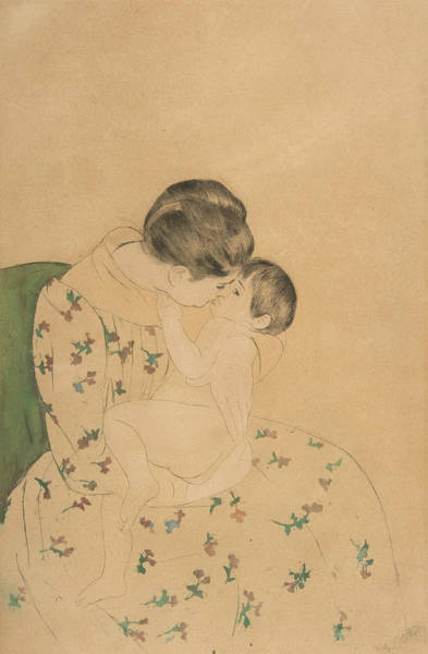 Relief - Mother's Kiss by Mary Cassatt