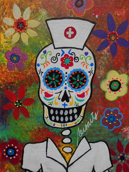 Wall Art - Painting - Nurse Dia De Los Muertos by Pristine Cartera Turkus