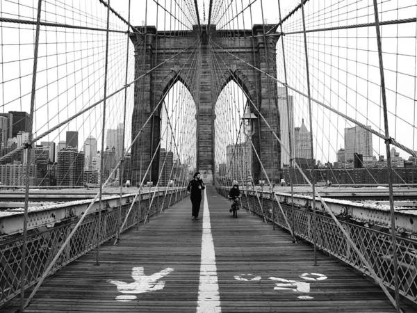 Street Photograph - Nyc Brooklyn Bridge by Nina Papiorek