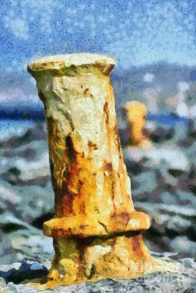 Oxidation Painting - Old Mooring Bollard  by George Atsametakis