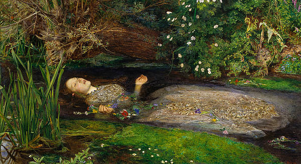Pre-raphaelite Brotherhood Painting - Ophelia by John Everett Millais