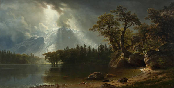 Wall Art - Painting - Passing Storm Over The Sierra Nevadas by Albert Bierstadt