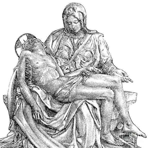 Gospel Drawing - Pieta by Michelangelo