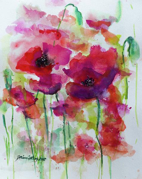 Wall Art - Painting - Poppies by Dorina Costras