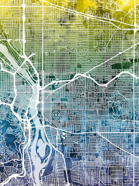 Portland Digital Art - Portland Oregon City Map by Michael Tompsett