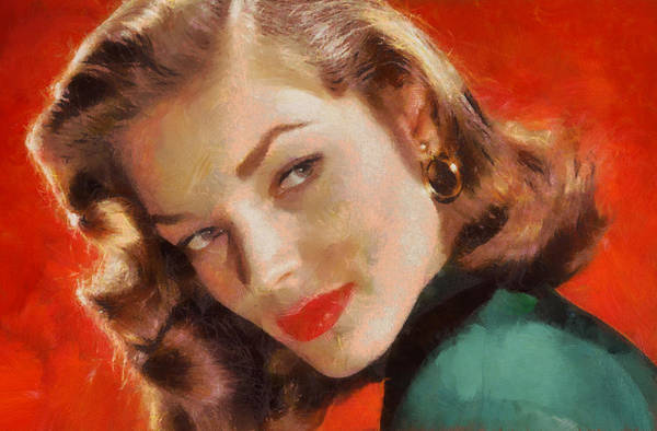 Digital Art - Portrait Of Lauren Bacall by Charmaine Zoe