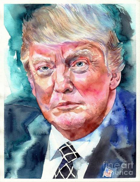 United States Presidents Painting - President Donald Trump Portrait by Suzann Sines