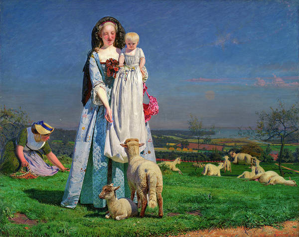 Sickle Painting - Pretty Baa Lambs by Ford Madox Brown