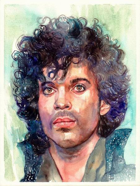 Rock Face Wall Art - Painting - Prince Rogers Nelson Portrait by Suzann's Art