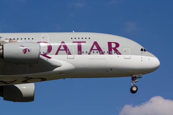 Airbus A380 Wall Art - Photograph - Qatar Airlines Airbus A380 by David Pyatt