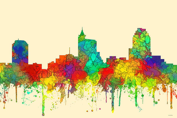 Downtown Raleigh Wall Art - Digital Art - Raleigh North Carolina Skyline by Marlene Watson