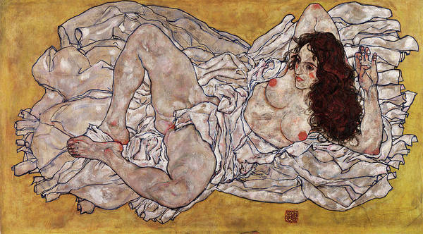 Having Sex Painting - Reclining Woman by Egon Schiele