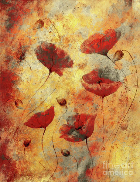 Wallpaper Mixed Media - Red Poppy On Color Background. Red Poppies. Red Flower On Abstract Color Background by Jozef Klopacka