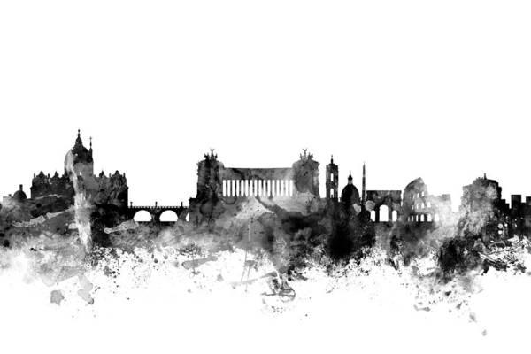 Italia Wall Art - Digital Art - Rome Italy Skyline by Michael Tompsett