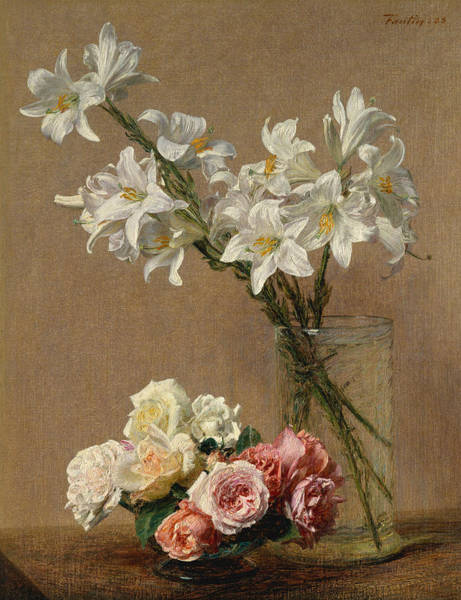 Wall Art - Painting - Roses And Lilies by Henri Fantin-Latou